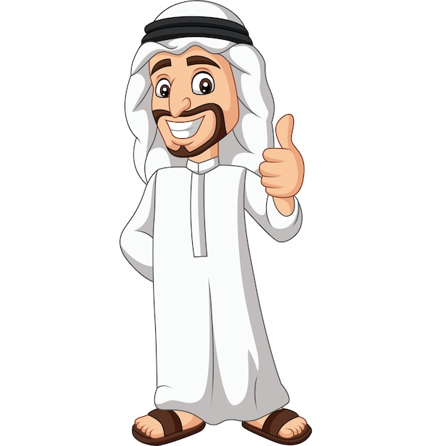 Dessin Animé Homme Arabe Saoudien Abandonnant Un Pouce Vecteur Premium