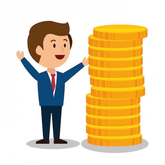 Dessin animé homme conception de gains d'argent isolé Vecteur Premium