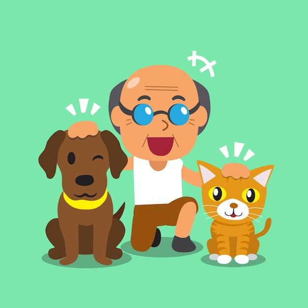 Dessin animé un homme et ses animaux de compagnie Vecteur Premium