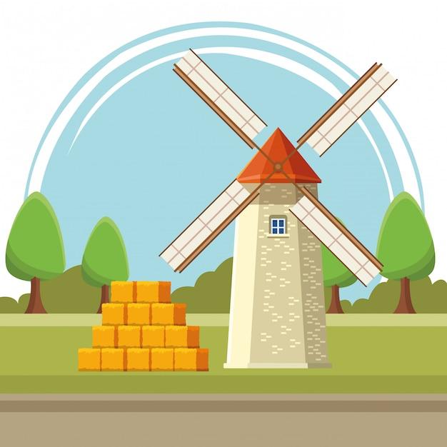 Dessin animé illustration moulin Vecteur Premium