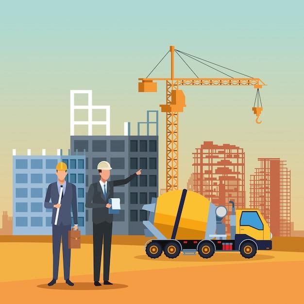 Dessin animé ingénieur en construction Vecteur Premium