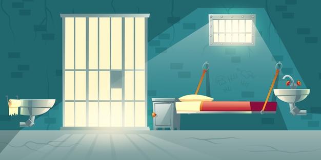 Dessin animé intérieur de cellule de prison sombre Vecteur gratuit