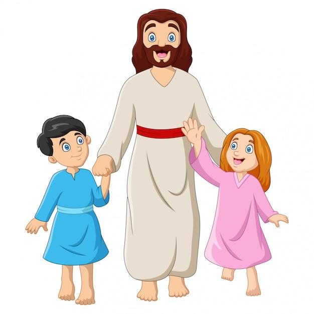 Dessin Animé Jésus-christ Avec Des Enfants Vecteur Premium
