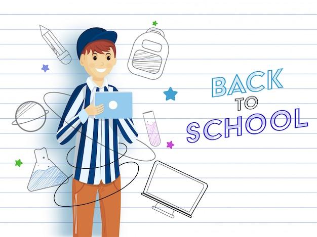 Dessin Animé Jeune Garçon Utilisant Une Tablette Avec Des éléments De Fournitures De Style Doodle Et Ordinateur Vecteur Premium