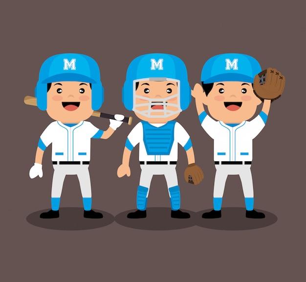 Dessin Animé De Joueurs De Baseball Vecteur gratuit