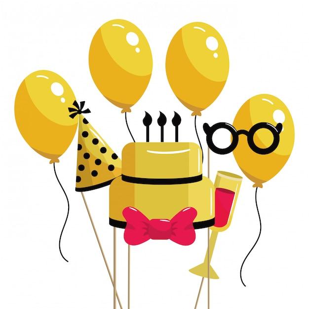 Dessin animé joyeux anniversaire Vecteur Premium