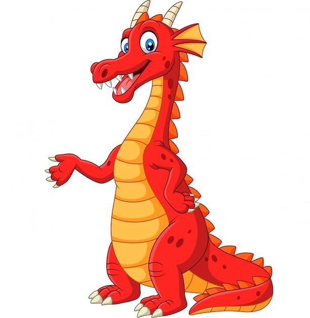 Dessin animé joyeux dragon rouge présentant Vecteur Premium
