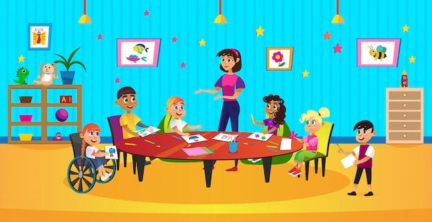 Dessin Animé Kid Crayon Draw Coloriage Femme Enseignante Vecteur Premium