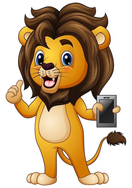 Dessin Anime Lion Donnant Les Pouces Vers Le Haut Avec Un Telephone