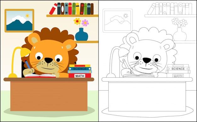 Dessin animé de lion étudiant Vecteur Premium
