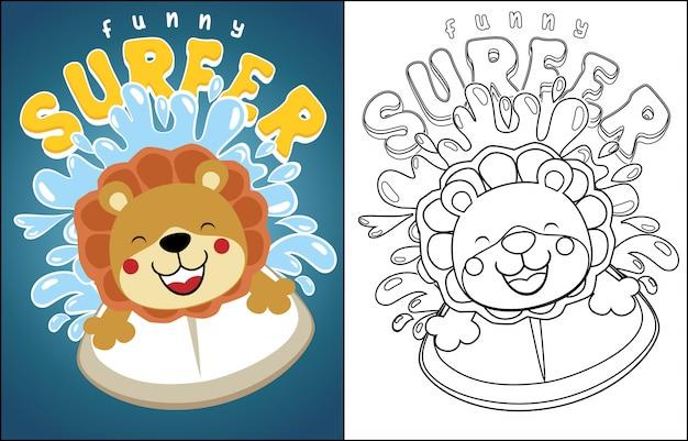 Dessin animé de lion le surfeur sur la vague Vecteur Premium