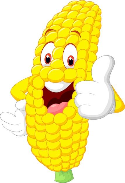 Dessin animé de maïs heureux abandonnant le pouce Vecteur Premium