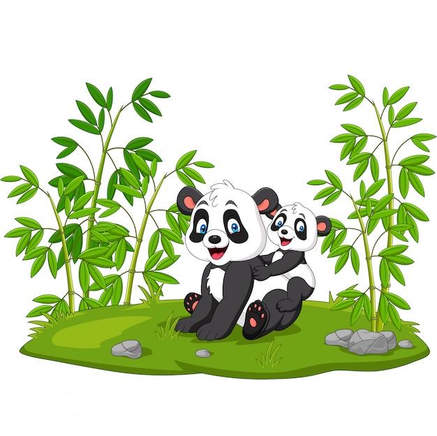 Dessin Animé Maman Et Bébé Panda Dans Le Bambou Vecteur Premium