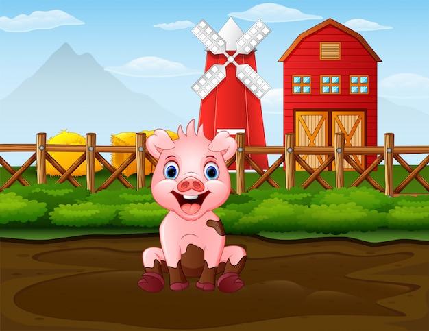 Dessin animé mauvais cochon dans le contexte de la ferme Vecteur Premium