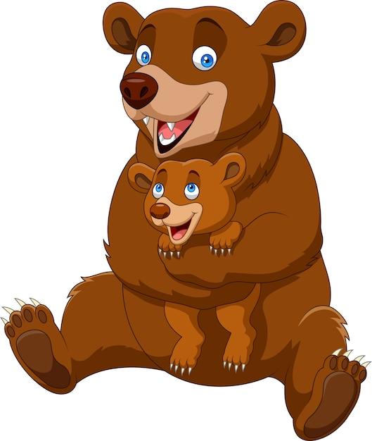 Dessin animé mère et bébé ours brun Vecteur Premium