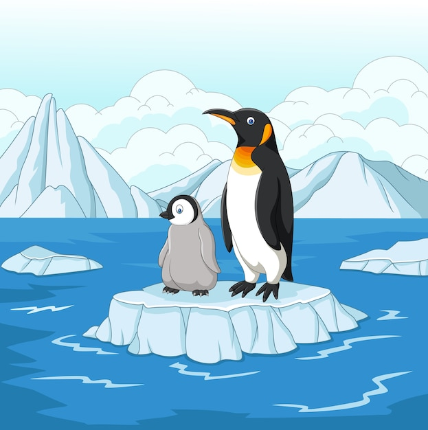 Dessin Anime Mere Et Bebe Pingouin Sur La Banquise Vecteur Premium