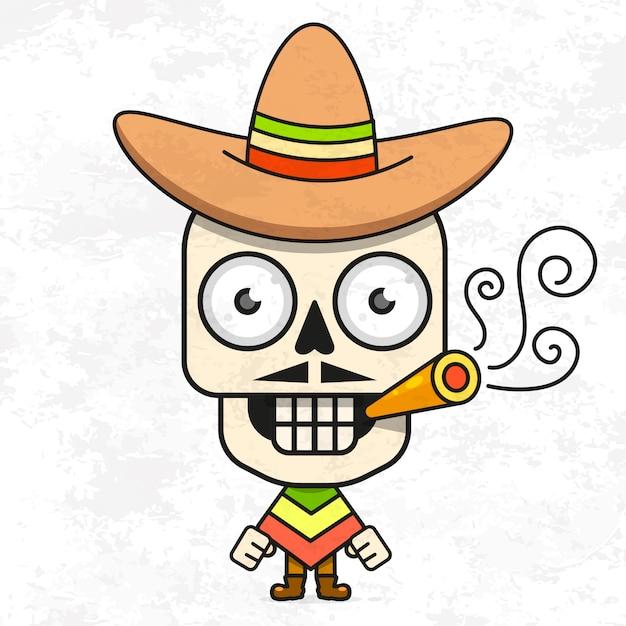Dessin animé mexicain sugar skull vector illustration pour dia de los muertos. crâne masculin mignon Vecteur Premium