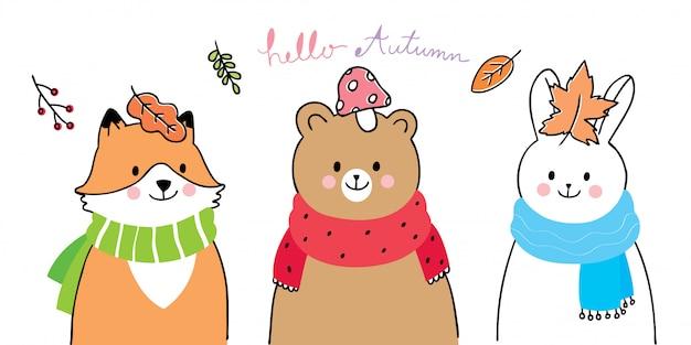 Dessin animé mignon amis de l'automne, renard, ours et lapin souriant. Vecteur Premium