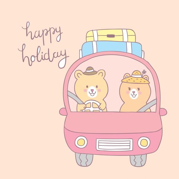 Dessin animé mignon amoureux de joyeuses fêtes porte vecteur de voiture. Vecteur Premium
