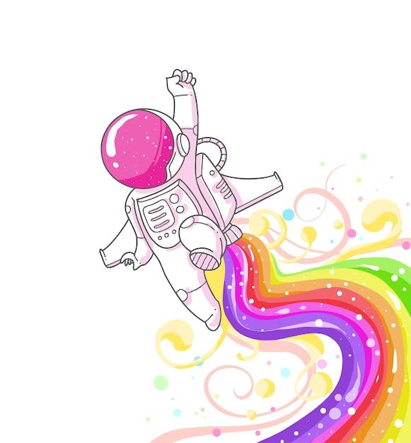 Dessin animé mignon d'astronaute Vecteur Premium