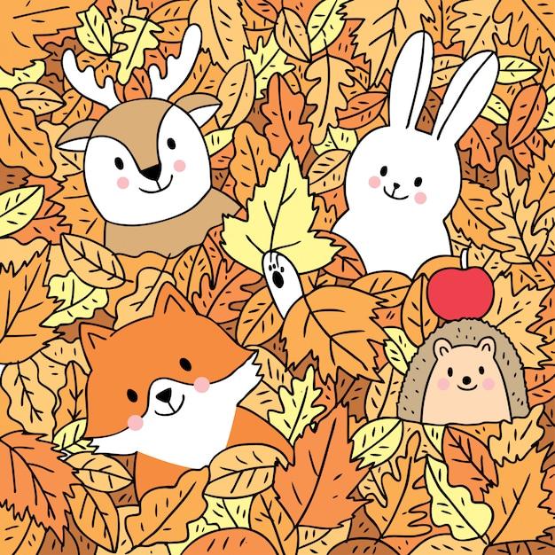 Dessin animé mignon automne, renard et cerf et lapin et hérisson en congé de vecteur. Vecteur Premium
