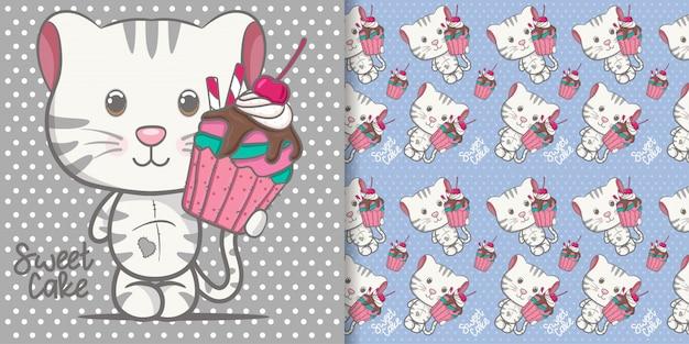 Dessin animé mignon bébé chaton avec motif sans soudure Vecteur Premium