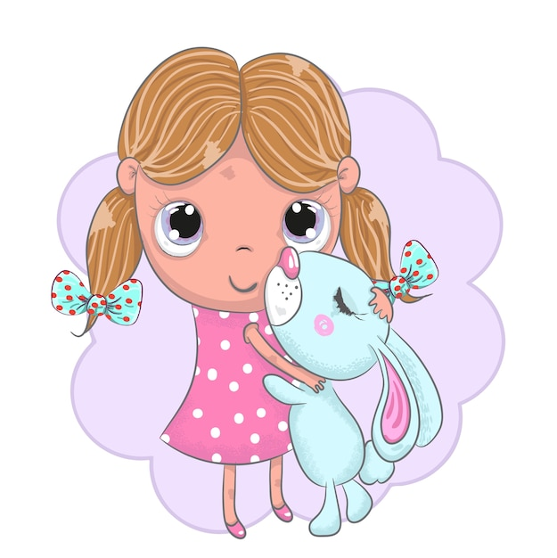 Dessin Animé Mignon Bébé Fille Et Lapin Dessinés à La Main