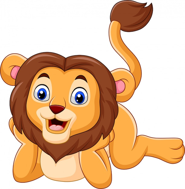 Dessin animé mignon bébé lion Vecteur Premium