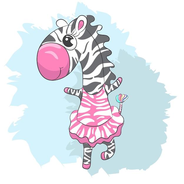 Dessin animé mignon bébé zebra ballerine dessinés à la main Vecteur Premium