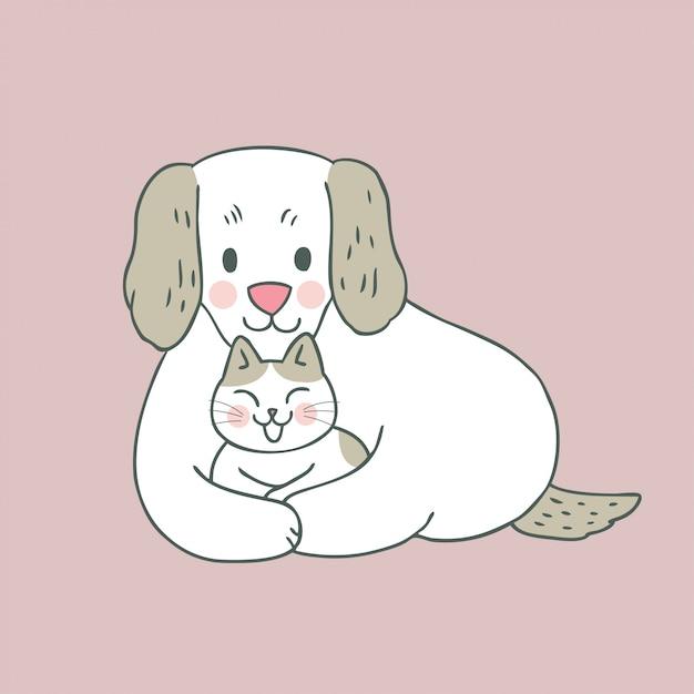 Dessin animé mignon chat et chien Vecteur Premium