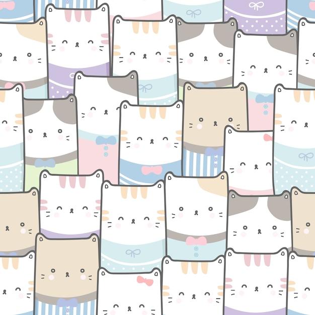 Dessin Animé Mignon Chat Doodle Pastel Transparente Motif Papier Peint Vecteur Premium