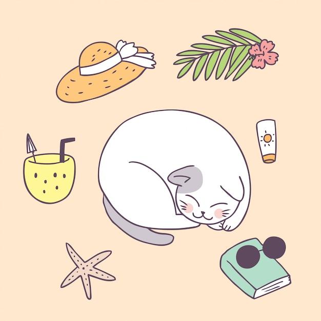 Dessin animé mignon chat d'été endormi Vecteur Premium