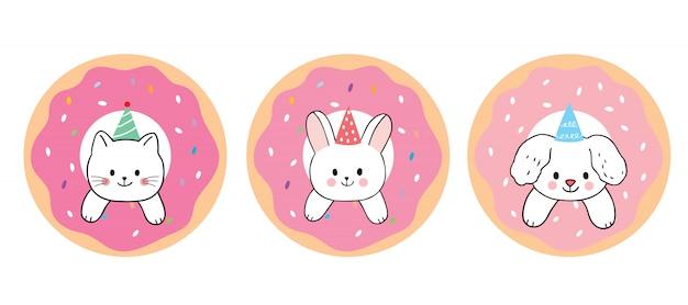 Dessin animé mignon chat et lapin et chien et vecteur de beignet aux fraises. Vecteur Premium