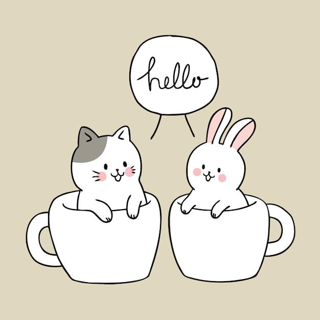 Dessin animé mignon chat et lapin dans une tasse de café Vecteur Premium