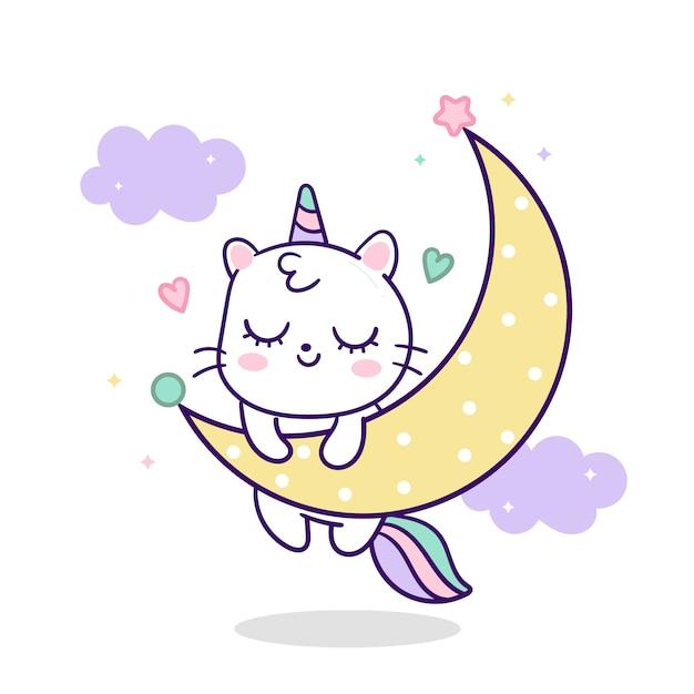 Dessin Animé Mignon De Chat Licorne Sur La Lune