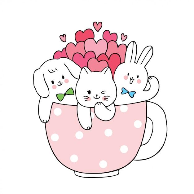 Dessin Animé Mignon Chat De Saint Valentin Et Chien Et Lapin Et Beaucoup De Coeurs Dans Une Tasse De Café. Vecteur Premium