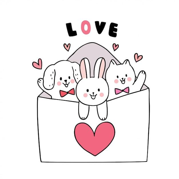 Dessin Animé Mignon Chat De Saint Valentin Et Chien Et Lapin Et Grand Vecteur De Lettre D'amour. Vecteur Premium
