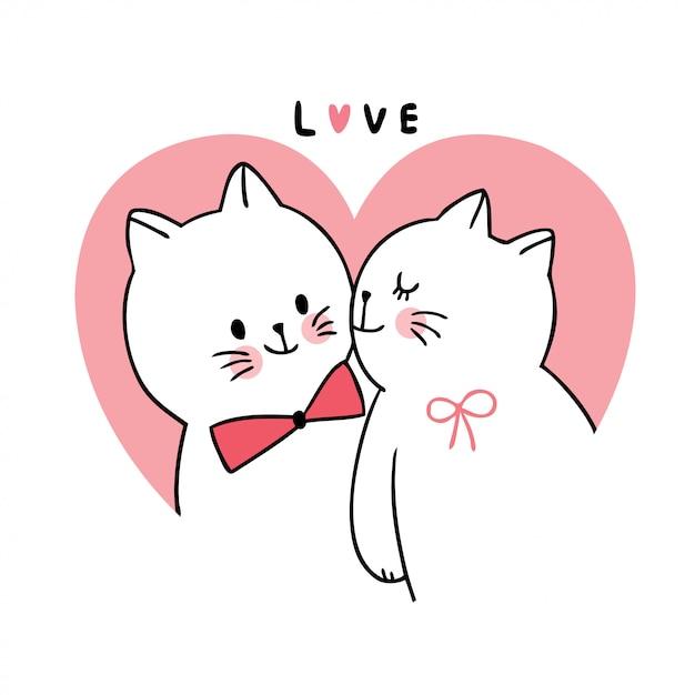 Dessin Animé Mignon Chats Amoureux De La Saint-valentin Embrassant Le Vecteur. Vecteur Premium