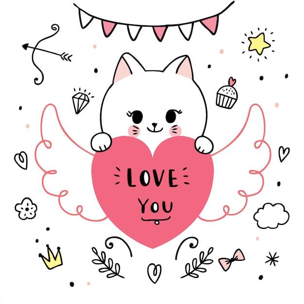 Dessin Animé Mignon Chats De Saint Valentin Et Vecteur De Doodle Coeur. Vecteur Premium