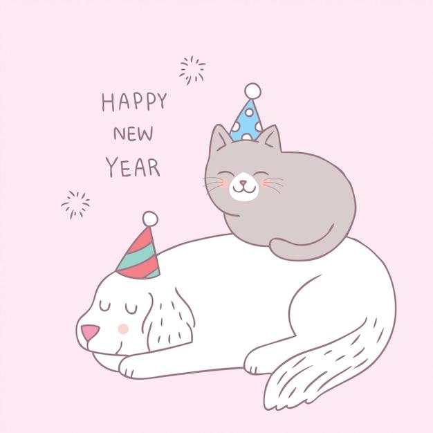 Dessin animé mignon chien et chat vecteur bonne année. Vecteur Premium