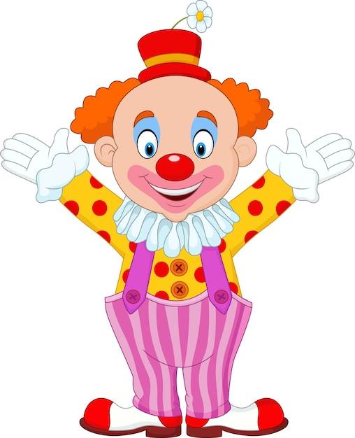 Dessin animé mignon de clown Vecteur Premium