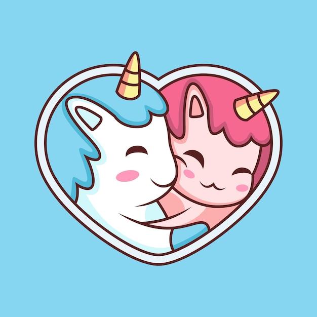 Dessin Animé Mignon Couple Licorne. Illustration D'icône Animale Isolée Sur Fond Bleu Vecteur Premium