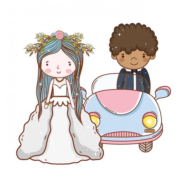 Dessin Anime Mignon Couple Voiture Couple Telecharger Des Vecteurs