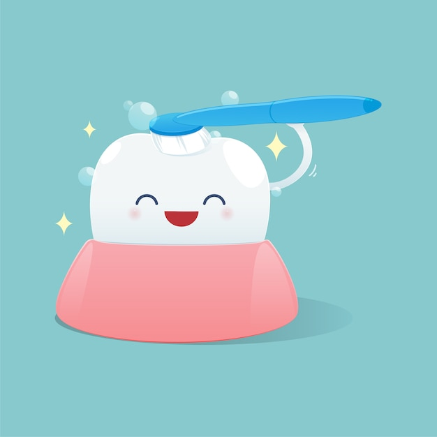 Dessin animé mignon dents heureux sourire et se brosser les dents nettoyage, illustration Vecteur Premium