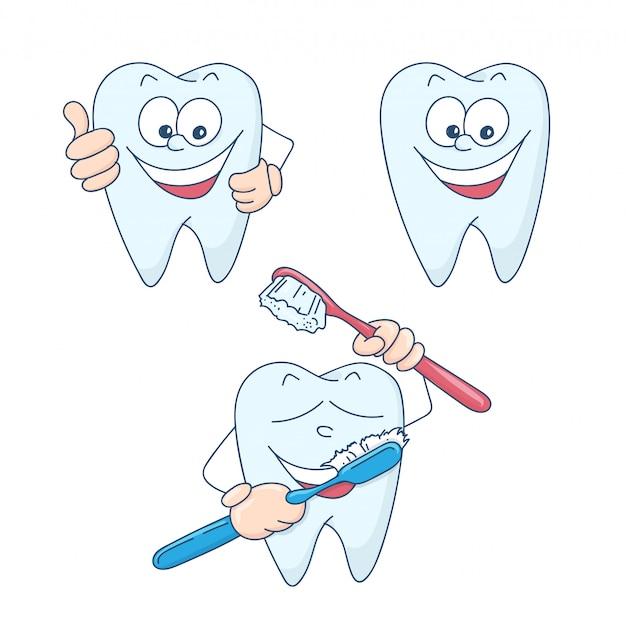 Dessin animé mignon des dents saines et belles. Vecteur Premium