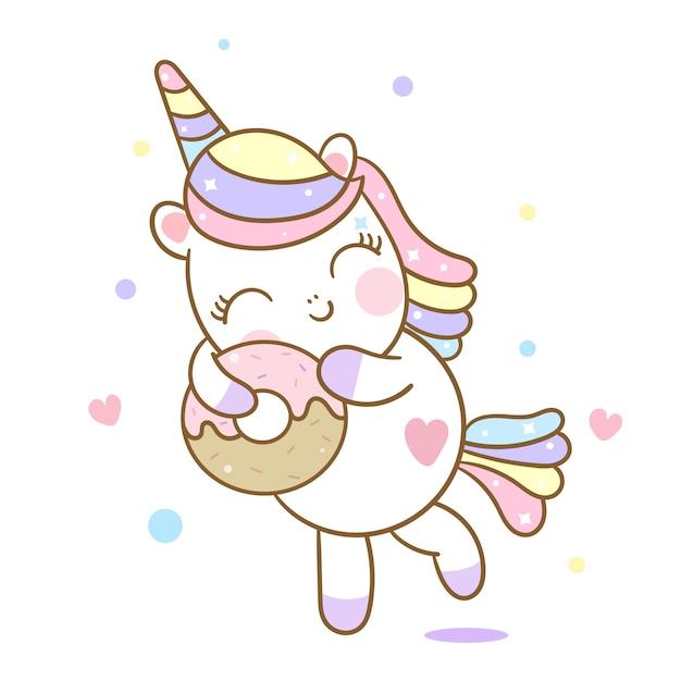 Dessin Anime Mignon Donut De Vecteur De Licorne Vecteur Premium
