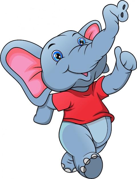 Dessin animé mignon d'éléphant Vecteur Premium