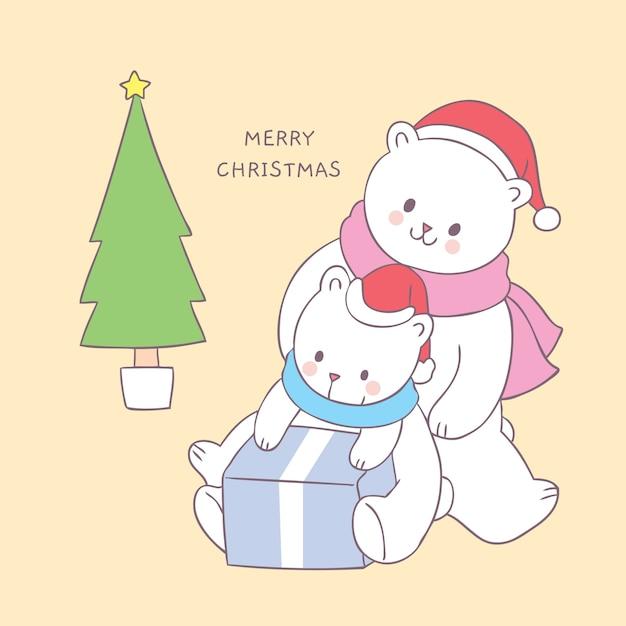 Dessin animé mignon famille d'ours polaires de noël et vecteur de cadeau. Vecteur Premium
