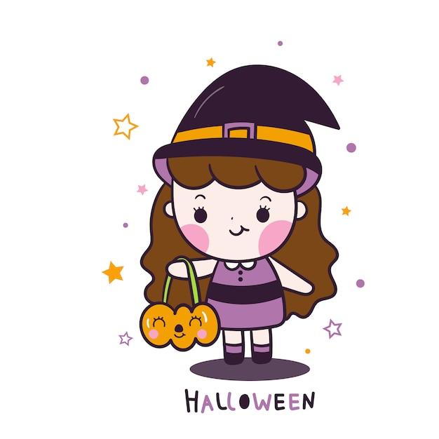 Dessin Animé Mignon Fille Halloween Tenant Dessin Animé Seau Citrouille Vecteur Premium