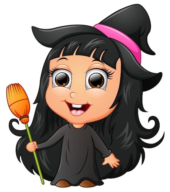 Dessin animé mignon fille portant le costume de sorcière Vecteur Premium